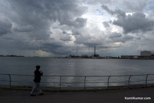 Copenhagen harbour on a gray day.