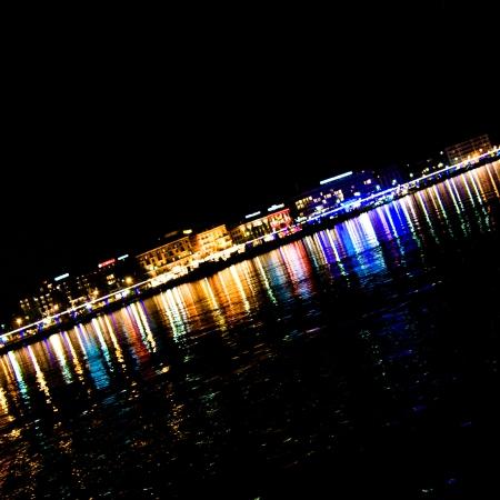 View of Geneva at night.
