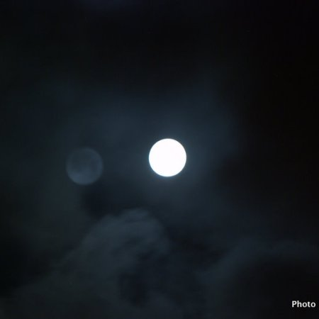 View of full moon in clouds