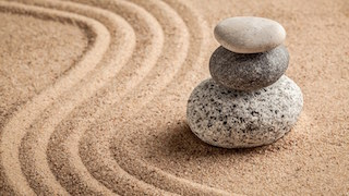 Japanese Zen stone garden - relaxation, meditation, simplicity and balance concept  - panorama of pe